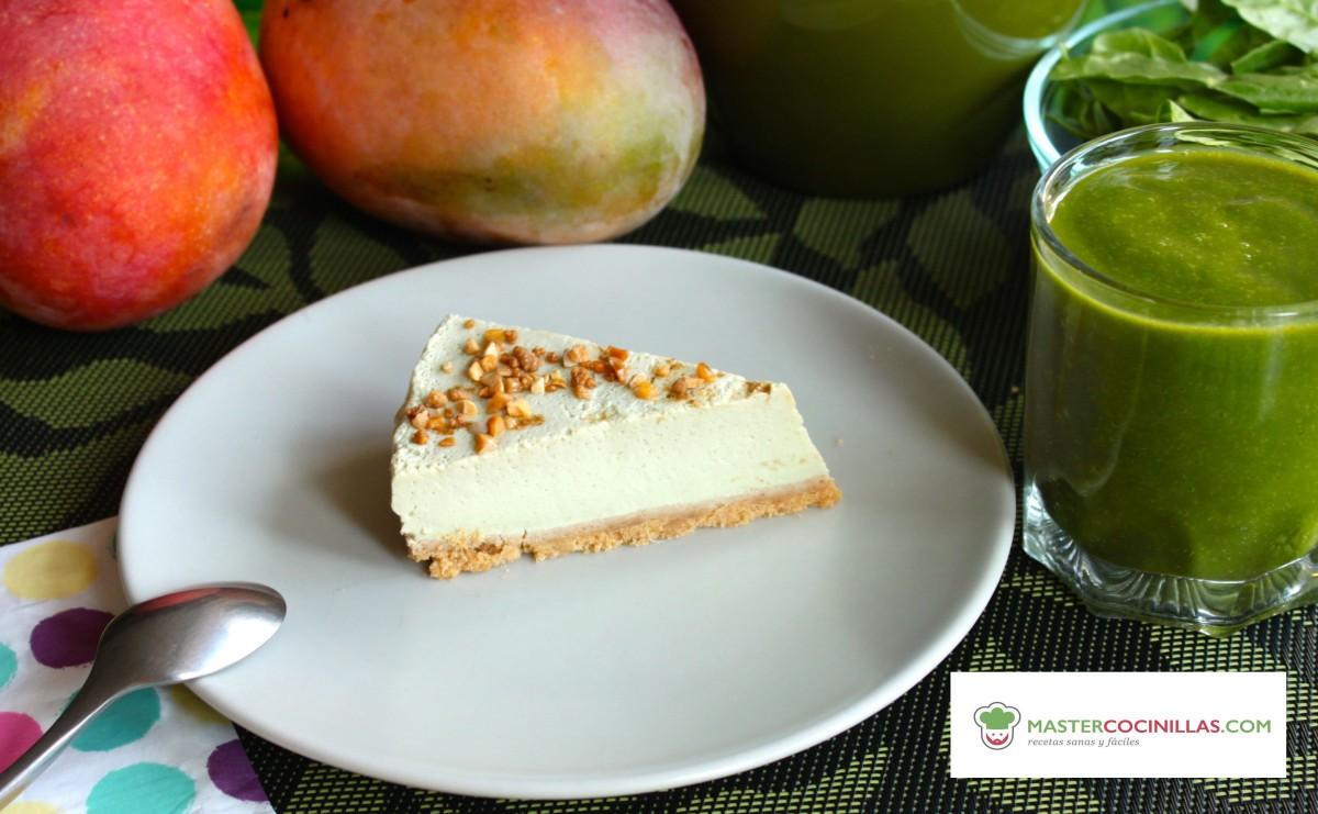 Tarta de queso, mango, plátano y acelgas (Receta con y sin thermomix)