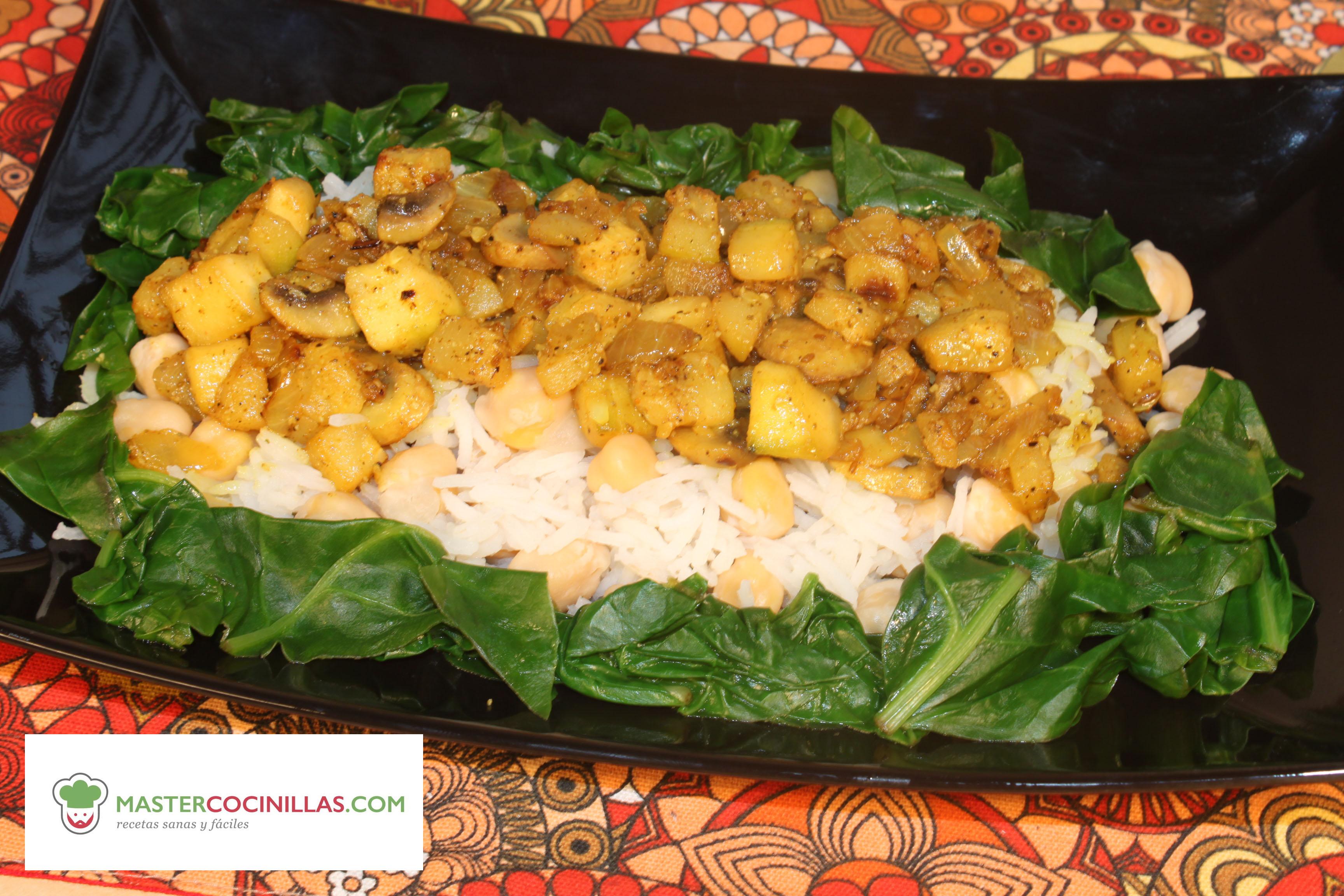 Garbanzos con arroz especiados recetas sanas y f ciles - Arroz con pescado y verduras ...