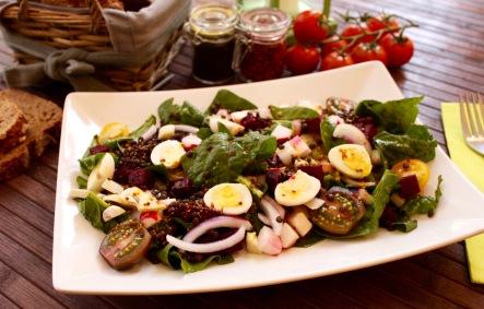 ensalada lentejas beluga negras remolacha huevo cebolla vinagreta mostaza