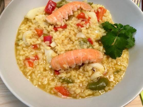 arroz caldoso de pescado y marisco terminado