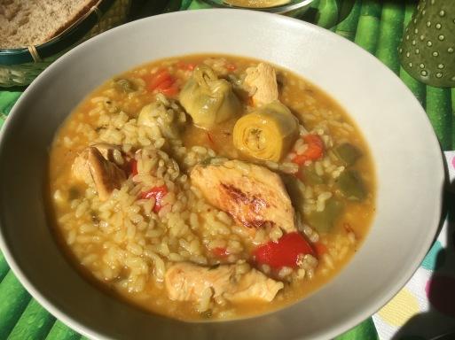 arroz caldoso pollo montes de malaga