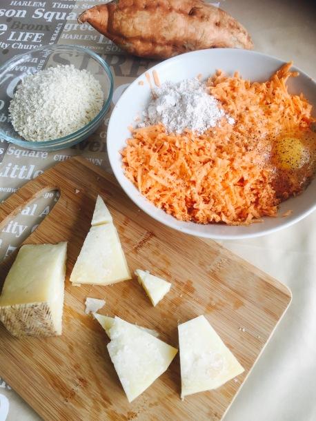 ingredientes bolitas crujientes de boniato y queso curado de oveja