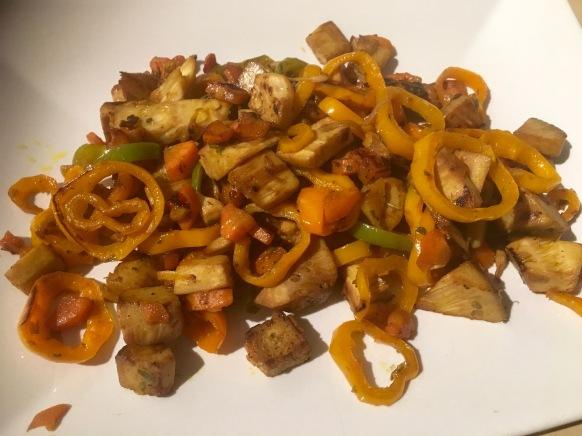 revuelto de jack fruit y verduras